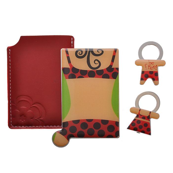Подарочный набор Be free!: зеркало, 2 брелока. 284502101-WX-01Подарочный набор Be free!, состоящий из карманного зеркала и двух брелоков, порадует любую девушку. Зеркало прямоугольной формы выполнено из нержавеющей стали, и имеет удобную ручку-держатель. Зеркало помещено в красный чехол из полиуретана, декорированный контрастной отстрочкой и тиснением в виде цветка. Брелоки, выполненные в виде мальчика и девочки, оснащены металлическими кольцами для крепления. Оригинальные и функциональные аксессуары подчеркнут изысканный вкус своей владелицы. Предметы набора хранятся в подарочной картонной коробке. Характеристики:Материал: металл, полиуретан. Размер брелока (с кольцом): 2,8 см х 4,2 см х 1 см. Размер корпуса зеркала: 8,5 см х 5,3 см. Размер упаковки: 12 см x 12 см x 2 см. Артикул:28450.