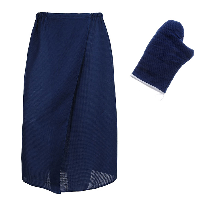 Комплект для бани и сауны Банные штучки женский, цвет: темно-синий, 2 предмета32185Комплект для бани и сауны Банные штучки, выполненный из натурального хлопка, привлечет внимание любителей модных тенденций в банной одежде.Набор состоит из вафельной накидки и рукавицы.Вафельная накидка - это многофункциональное полотенце специального покроя с резинкой и застежкой. В парилке можно лежать на ней, после душа вытираться, а во время отдыха использовать как удобную накидку.Рукавица обезопасит ваши руки от горячего пара или ручки ковша. Рукавицей можно также прекрасно помассировать тело.Такой набор будет приятно получить в подарок каждому. Характеристики: Материал: 100% хлопок. Цвет: синий. Размер накидки: 145 см х 78 см. Размер: 36-60. Размер рукавицы: 25 см х 16 см. Артикул: 32062.