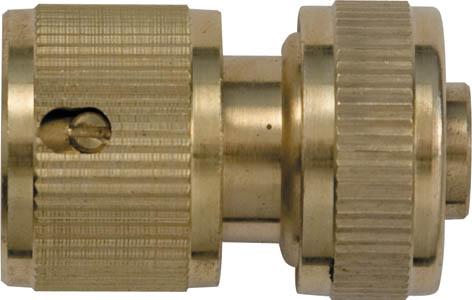 Соединитель для шлангов FIT, латунный, с автостопом, 1/2. 77445A6300AP-2ABСоединитель для шланга FIT, с автостопом применяется для быстрого и надежного соединения шланга с любой насадкой поливочной системы. Встроенный клапан автостопа перекрывает поток воды при снятии насадки. Характеристики: Материал:латунь. Размеры прибора: 4,5 см х 3 см х 3 см. Размер упаковки:15 см х 10 см х 4 см.