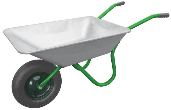 """Тачка садовая FIT, 65 лC0038550Тачка садовая FIT может применяться при ремонте, строительстве, ландшафтных работах. Усиленная конструкция позволяет переводить за один раз до 120 кг грузов. Колесо диаметром 16 x 4 показывает хорошую проходимость даже по неровной поверхности. Корыто выполнено из алюминия и не подвержено коррозии, что повышает срок эксплуатации тачки.Характеристики: Материал: алюминий оцинкованный, металл, мезина. Диаметр надувного колеса: 16"""" x 4"""". Объем: 65 л."""