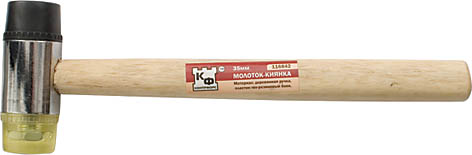 Молоток-киянка Контрфорс, 35 мм2706 (ПО)Молоток-киянка Контрфорс - превосходный ударный инструмент, подходящий для деликатной работы. Деревянная рукоятка обеспечивает удобное положение киянки в руке. Пластиково-резиновая ударная часть имеет цилиндрическую форму с плоскими боками. Характеристики: Материал: пластик, металл, дерево. Длина ручки: 28 см. Диаметр бойка: 3,5 см. Размеры упаковки:28 см х 8 см х 3,5 см.
