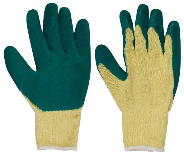 Перчатки вязаные х/б c заливкой наладонника, цвет: желтый, зеленый. Размер 9S03301004Перчатки вязаные х/б c заливкой наладонника предназначены для строительных и погрузочно-разгрузочных работ. Изготовлены из 100% хлопка, что обеспечивает естественный воздухообмен. Ладонная часть усиленаслоем латекса увеличенной толщиныдля дополнительной защиты рук, а рельефная поверхность увеличивает сцепные свойства и позволяет крепко удерживать инструмент и различные предметы во время работы. Перчатки устойчивы к истиранию и имеют долгий срок эксплуатации. Характеристики: Материал: ткань, резина. Размеры перчаток:25 см x 9,5 см x 1,5 см. Размер упаковки:25 см x 9,5 см x 1,5 см. Размер: 9. Комплектация: 1 пара.