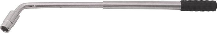 Ключ баллонный КонтрФорс, телескопический, Г-образный, 17 мм х 19 мм98298130Телескопический баллонный ключ КонтрФор выполнен из высококачественной инструментальной стали. Антикоррозийное хромированное покрытие.Телескопическая ручка с удобным механизмом фиксации позволяет создавать рычаг до 53 см, обеспечивая максимальное удобство эксплуатации ключа.В комплект входит универсальная съемная двусторонняя головка 17 мм х 19 мм, подходящая для большинства типов колес.Ключ подходит для работы с алюминиевыми автомобильными дисками. Характеристики: Материал: металл, пластик. Длина ключа: 36 см. Размер упаковки: 42 см х 14 см х 3 см.