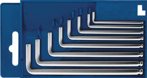 Набор шестигранных ключей HEX, с шаровым наконечником, 8 шт. 1372032706 (ПО)Набор шестигранных ключей HEX предназначен для работы с крепежными элементами, имеющими внутренний шестигранник. Ключи поставляются в пластиковом футляра, для удобного хранения. Каждый ключ изготовлен из хром-ванадиевой стали и оснащен шаровым наконечником, который позволяет работать в труднодоступных местах под углом до 35 градусов. Характеристики: Материал: сталь. Размеры ключей: 1,5; 2,0; 2,5; 3,0; 5,0; 6,0; 8,0 мм. Размер футляра: 13,5 см x 7,5 см x 1,5 см. Изготовитель: Китай.