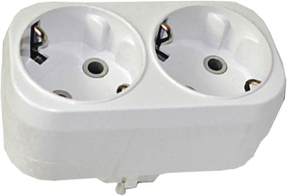 Разветвитель UNIVersal с заземлением, 2 гнезда. 8331732007 6Разветвитель UNIVersal предназначен для одновременного присоединения одного, двух или трех бытовых приборов к одной розетке двухполюсной электрической сети переменного тока напряжением 220-250 Вт, частотой 50 Гц. Применяются для подключения электроприборов с вилкой европейского стандарта к розеткам европейского стандарта до 250 Вт, изготовлен из АБС-пластика белого цвета. Характеристики: Материал: ABS пластик. Размеры разветвителя: 9 см x 4,5 см x 7,5 см. Размер упаковки: 22,5 см x 13,5 см x 8 см.