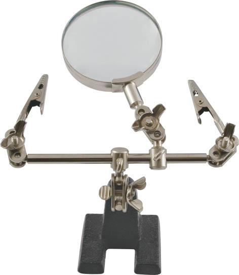 Зажим для пайки Курс с лупой08-631Зажим для пайки Курс с лупой используется для работы с мелкими деталями и проводами. Имеет устойчивую станину и зажимы, фиксирующие деталь при работе, 3-х кратная лупа позволяет работать с мелкими деталями. Характеристики: Материал: инструментальная сталь. Размеры зажима: 12 см х 14 см х 5 см. Диаметр лупы: 6 см. Кратность увеличения: 3. Размеры упаковки: 19 см х 6 см х 19 см.