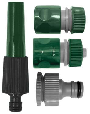 Набор для полива FIT, 4 шт. 77291А00319Поливочный набор FIT используется для полива и орошения. Насадка для полива обеспечивает точную работу, благодаря узкому носику. Внешний адаптер используется для монтажа соединителя с водопроводной трубой или же краном, который оснащен внешней резьбой. Соединители применяются для герметичного соединения двух труб или шлангов. Соединитель с функцией автостоп прекращает подачу воды при отсоединении насадки, что позволяет избежать лишнего расхода воды. Входящие в набор приспособления выполнены из пластика ABS, который отличается своими высокими эксплуатационными свойствами, не подвергается химическим и механическим воздействиям. С помощью набора можно быстро и без лишних усилий создать необходимую магистраль.В набор входит: насадка для полива, соединитель, соединитель с автостопом, адаптер внешний.Набор поливочный рассчитан на соединение диаметром 1/2. Характеристики: Материал: ABS пластик. Размеры насадки: 13,5 см x 3,5 см x 3,5 см. Размеры соединителя: 5,5 см x 4 см x 4 см. Размеры соединителя с автостопом: 5,5 см x 4 см x 4 см. Размеры адаптера: 4,5 см x 3,5 см x 3,5 см. Размер упаковки: 20 см x 4 см x 4 см.