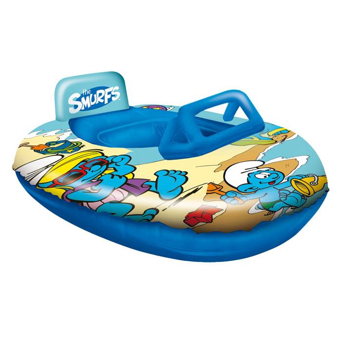 """Надувная лодка Mondo """"Смурфы"""", выполненная из прочного ПВХ синего цвета, напоминает маленький катер. Она снабжена в передней части стилизованной под ветровое стекло прозрачной вставкой и невысоким подголовником сзади. Лодка оформлена изображениями героев популярного мультфильма """"Смурфики"""". Такая лодочка станет незаменимым атрибутом летнего отдыха!"""