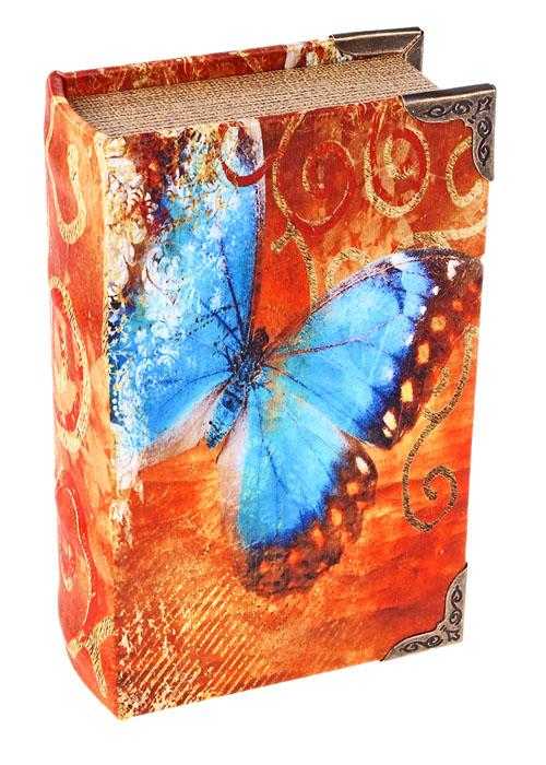 Ключница-книга Бабочка. 62291254 009312Декоративная ключница Бабочка, выполненная из дерева, украсит интерьер помещения оригинальным образом, поможет создать атмосферу уюта. Ключница обтянута шелком с изображением голубой бабочки. Внутренняя поверхность отделана кожзаменителем. Ключница станет не только украшением вашего дома, но и послужит функционально: она представляет собой книгу, внутри которой предусмотрено четыре металлических крючка для ключей. С обратной стороны книги есть две металлические петельки для размещения ее на стене.Украсив помещение такой необычной ключницей, вы привнесете в свой интерьер элемент оригинальности. Характеристики:Материал: дерево, шелк, кожзаменитель, металл. Размер ключницы: 10,5 см х 17 см х 5 см. Размер упаковки: 18 см х 12 см х 5,5 см. Артикул: 622912.