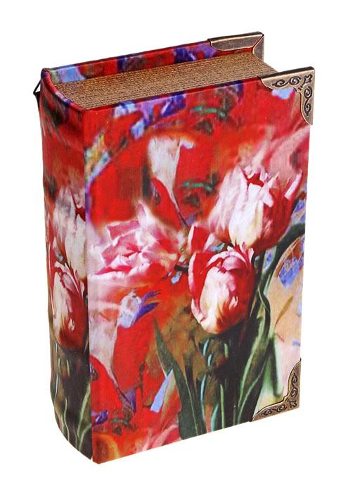 Ключница-книга настенная Красные тюльпаны. 62290654 009312Декоративная настенная ключница-книга Красные тюльпаны, изготовленная из дерева, поможет оригинально украсить интерьер вашего помещения. Крышка обтянута шелком с изящным изображением красных тюльпанов. Внутренняя поверхность отделана искусственной кожей бордового цвета. Внутри предусмотрено четыре металлических крючка для ключей. Сзади имеются две петельки для размещения ключницы на стене. Крышка плотно закрывается на магнит.Ключница станет не только украшением интерьера, но и поможет хранить все ключи в одном месте. Характеристики:Материал: дерево, металл, шелк. Размер ключницы: 11 см х 5 см х 17 см. Размер упаковки: 17,5 см х 12 см х 5,5 см. Артикул: 622906.
