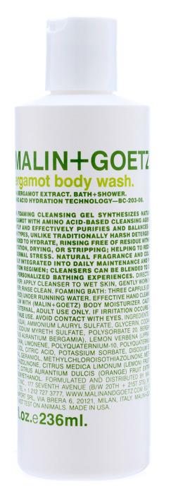 Malin+Goetz Гель для душа Бергамот, 236 млFS-00897Концентрированный пенящийся гель для душа Malin+Goetz Бергамот содержит натуральный бергамот и очищающие ингредиенты на основе аминокислот для мягкого увлажнения кожи и устранения эпидермального стресса. Эффективно очищает и поддерживает баланс всех типов кожи, особенно чувствительной и склонной к экземе кожи. Полностью смывается водой, не вызывает раздражения, сухости и повреждений кожи в отличие от традиционных грубых очищающих средств. Имеет тонкий аромат экстракта бергамота, известный своими освежающими, бодрящими, тонизирующими и лечебными свойствами. Подходит для использования в душе или ванной, как для мужчин, так и для женщин. Характеристики:Объем: 236 мл. Производитель: США. Товар сертифицирован.