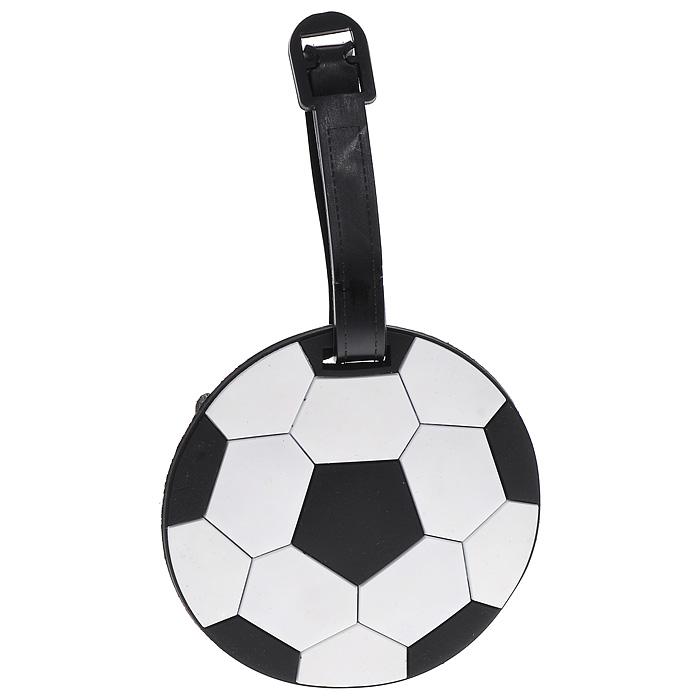 Бирка багажная Футбольный мяч, цвет: черный, белый
