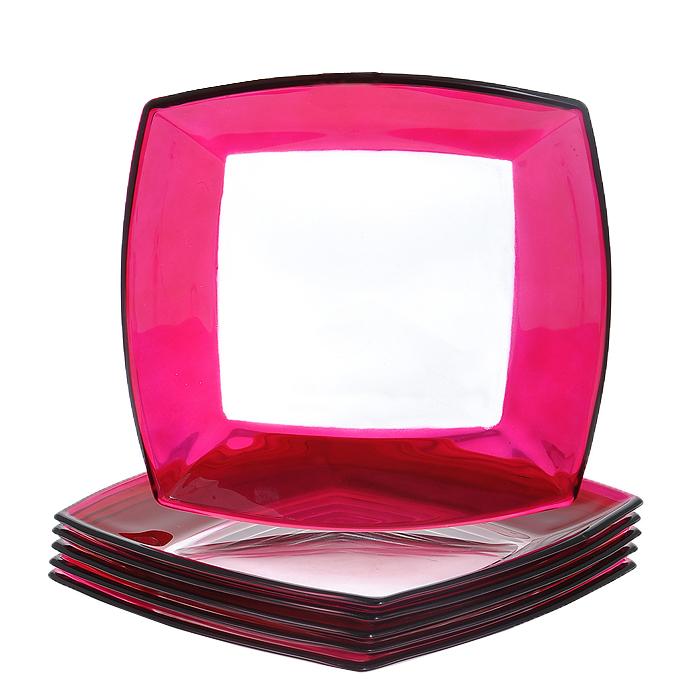 Набор тарелок Tokio, цвет: розовый, 6 шт54 009312Набор Tokio состоит из шести тарелок, выполненных из закаленного стекла, благодаря чему посуда будет использоваться очень долго, при этом сохраняя свой внешний вид. Квадратные тарелки декорированы по краю розовой окантовкой. Они сочетают в себе изысканный дизайн с максимальной функциональностью. Оригинальность оформления тарелок придется по вкусу и ценителям классики, и тем, кто предпочитает утонченность и изящность. Набор тарелок Tokio послужит отличным подарком к любому празднику. Характеристики:Материал: стекло. Цвет: розовый. Размер тарелки:19,5 см х 19,5 см. Высота стенок тарелки:2 см. Комплектация:6 шт. Размер упаковки:20,5 см х 20 см х 8 см. Артикул:54077F.