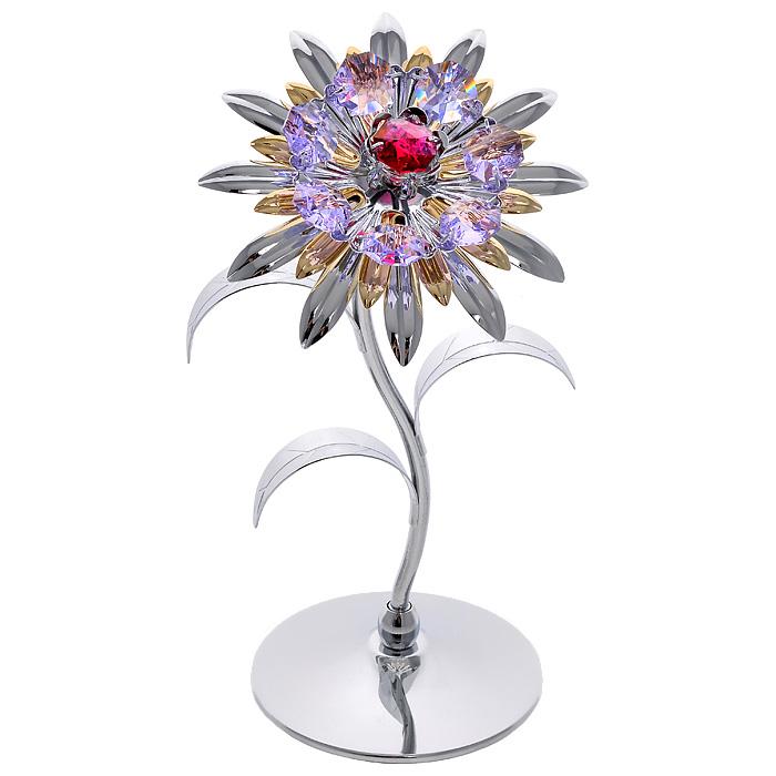 Фигурка декоративная Хризантема, цвет: серебристыйa030041Декоративная фигурка Хризантема, серебристого цвета, станет необычным аксессуаром для вашего интерьера и создаст незабываемую атмосферу. Фигурка выполнена в виде цветка хризантемы на подставке и инкрустирована разноцветными кристаллами. Кристаллы, украшающие фигурку, носят громкое имяSwarovski. Ограненные, как бриллианты, кристаллы блистают сотнями тысяч различных оттенков.Эта очаровательная вещь послужит отличным подарком близкому человеку, родственнику или другу, а также подарит приятные мгновения и окунет вас в лучшие воспоминания.Фигурка упакована в подарочную коробку. Характеристики:Материал: металл (углеродистая сталь, покрытие золотом 0,05 микрон), австрийские кристаллы. Размер фигурки: 9 см х 17 см х 7,5 см. Цвет: серебристый. Размер упаковки: 10 см х 20,5 см х 10 см. Артикул: 67264. Более чем 30 лет назад компанияCrystocraftвыросла из ведущего производителя в перспективную торговую марку, которая задает тенденцию благодаря безупречному чувству красоты и стиля. Компания создает изящные, качественные, яркие сувениры, декорированные кристалламиSwarovskiразличных размеров и оттенков, сочетающие в себе превосходное мастерство обработки металлов и самое высокое качество кристаллов. Каждое изделие оформлено в индивидуальной подарочной упаковке, что придает ему завершенный и презентабельный вид.