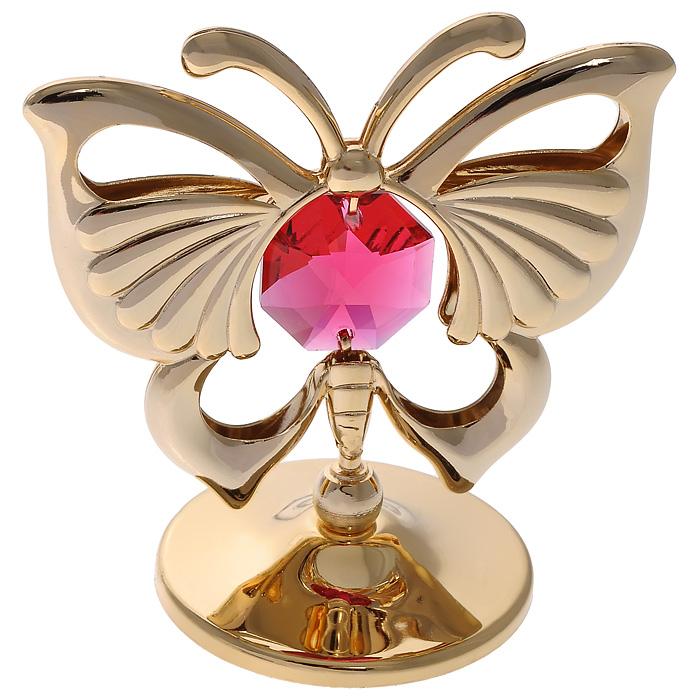 Фигурка декоративная Бабочка, цвет: золотистый. 6762341619Декоративная фигурка Бабочка, золотистого цвета, станет необычным аксессуаром для вашего интерьера и создаст незабываемую атмосферу. Фигурка выполнена в виде бабочки на подставке и инкрустирована красным кристаллом. Кристаллы, украшающие фигурку, носят громкое имяSwarovski. Ограненные, как бриллианты, кристаллы блистают сотнями тысяч различных оттенков.Эта очаровательная вещь послужит отличным подарком близкому человеку, родственнику или другу, а также подарит приятные мгновения и окунет вас в лучшие воспоминания.Фигурка упакована в подарочную коробку. Характеристики:Материал: металл (углеродистая сталь, покрытие золотом 0,05 микрон), австрийские кристаллы. Размер фигурки (с подставкой): 5 см х 5 см х 3 см.Цвет: золотистый. Размер упаковки: 6 см х 7 см х 5,5 см. Артикул: 67623. Более чем 30 лет назад компанияCrystocraftвыросла из ведущего производителя в перспективную торговую марку, которая задает тенденцию благодаря безупречному чувству красоты и стиля. Компания создает изящные, качественные, яркие сувениры, декорированные кристалламиSwarovskiразличных размеров и оттенков, сочетающие в себе превосходное мастерство обработки металлов и самое высокое качество кристаллов. Каждое изделие оформлено в индивидуальной подарочной упаковке, что придает ему завершенный и презентабельный вид.