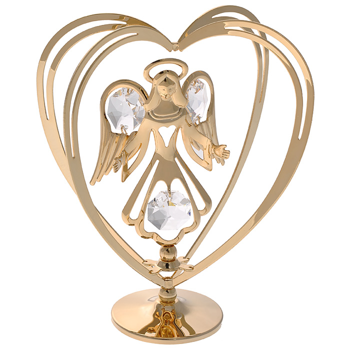 Фигурка декоративная Ангел, цвет: золотистый. 6711876663Декоративная фигурка Ангел, золотистого цвета, станет необычным аксессуаром для вашего интерьера и создаст незабываемую атмосферу. Фигурка выполнена в виде ангела с распростертыми руками, стоящего внутри сердца, и инкрустирована белыми кристаллами. Кристаллы, украшающие фигурку, носят громкое имяSwarovski. Ограненные, как бриллианты, кристаллы блистают сотнями тысяч различных оттенков.Эта очаровательная вещь послужит отличным подарком близкому человеку, родственнику или другу, а также подарит приятные мгновения и окунет вас в лучшие воспоминания.Фигурка упакована в подарочную коробку. Характеристики:Материал: металл (углеродистая сталь, покрытие золотом 0,05 микрон), австрийские кристаллы. Размер фигурки: 7,5 см х 10,5 см х 4 см.Цвет: золотистый. Размер упаковки: 9 см х 10 см х 6,5 см. Артикул: 67118. Более чем 30 лет назад компанияCrystocraftвыросла из ведущего производителя в перспективную торговую марку, которая задает тенденцию благодаря безупречному чувству красоты и стиля. Компания создает изящные, качественные, яркие сувениры, декорированные кристалламиSwarovskiразличных размеров и оттенков, сочетающие в себе превосходное мастерство обработки металлов и самое высокое качество кристаллов. Каждое изделие оформлено в индивидуальной подарочной упаковке, что придает ему завершенный и презентабельный вид.