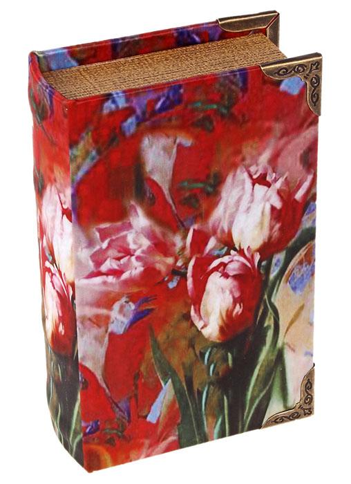 Шкатулка Красные тюльпаны10850/1W GOLD IVORYШкатулка Красные тюльпаны, выполненная в виде книги, не оставит равнодушной ни одну любительницу изысканных вещей. Шкатулка изготовлена из дерева и обтянута шелком с изображением красных тюльпанов. Внутренняя поверхность шкатулки отделана искусственной кожей.Сочетание оригинального дизайна и функциональности сделает такую шкатулку практичным и стильным подарком, а также предметом гордости ее обладательницы. Характеристики:Материал:дерево, кожзаменитель, шелк, металл. Размер шкатулки:10,5 см х 17 см х 5 см. Размер упаковки:12 см х 17,5 см х 5,5 см. Артикул:622905.