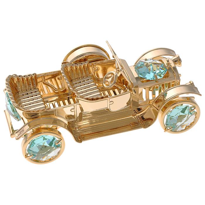 Фигурка декоративная Ретро-автомобиль, с часами, цвет: золотистый12723Декоративная фигурка Ретро-автомобиль, золотистого цвета, станет необычным аксессуаром для вашего интерьера и создаст незабываемую атмосферу. Фигурка оснащена часовым циферблатом и инкрустирована зелеными кристаллами. Кристаллы, украшающие фигурку, носят громкое имяSwarovski. Ограненные, как бриллианты, кристаллы блистают сотнями тысяч различных оттенков.Эта очаровательная фигурка с часами послужит отличным функциональным подарком, а также подарит приятные мгновения и окунет вас в лучшие воспоминания.Фигурка упакована в подарочную коробку. Характеристики:Материал: металл (углеродистая сталь, покрытие золотом 0,05 микрон), австрийские кристаллы, стекло. Размер фигурки: 9 см х 3,5 см х 4 см.Диаметр циферблата: 2,5 см.Цвет: золотистый. Размер упаковки: 9 см х 6,5 см х 4,5 см. Артикул: 67217. Более чем 30 лет назад компанияCrystocraftвыросла из ведущего производителя в перспективную торговую марку, которая задает тенденцию благодаря безупречному чувству красоты и стиля. Компания создает изящные, качественные, яркие сувениры, декорированные кристалламиSwarovskiразличных размеров и оттенков, сочетающие в себе превосходное мастерство обработки металлов и самое высокое качество кристаллов. Каждое изделие оформлено в индивидуальной подарочной упаковке, что придает ему завершенный и презентабельный вид.