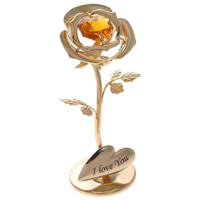 Фигурка декоративная Роза, цвет: золотистый. 67494 фигурка декоративная сердце на присоске цвет золотистый фиолетовый 67352