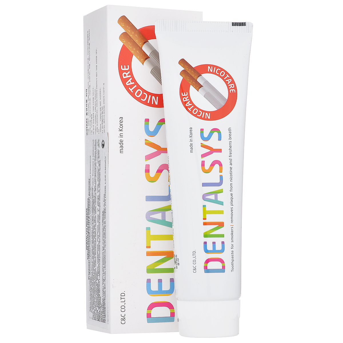 DC 2080 Зубная паста Dentalsys Nicotare, для курящих, 130 гSatin Hair 7 BR730MNЗубная паста DC 2080 Dentalsys Nicotare устраняет никотиновый налет и освежает дыхание. Оказывает многоуровневое комплексное отбеливающее действие. Освежающий вкус перечной мяты устраняет запах табака и придает свежесть дыханию. Паста предназначена для курильщиков, но может применяться и для некурящих членов семьи. Характеристики:Вес: 130 г. Артикул: 220598. Производитель: Корея. Товар сертифицирован.