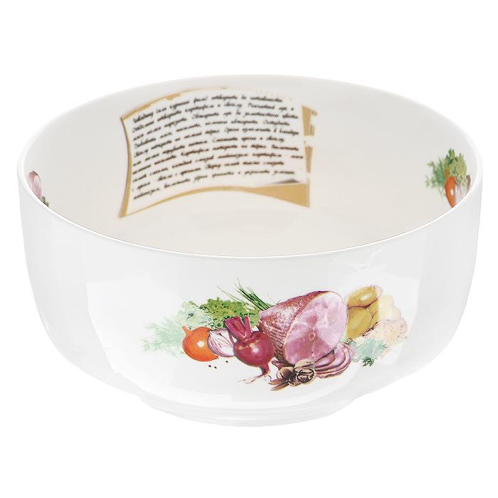 Салатник Гранатовый салат, цвет: белый, диаметр 18 см386044Салатник Гранатовый салат, выполненный из высококачественного фарфора, порадует вас ярким дизайном и практичностью. Дно салатника декорировано изображением гранатового салата, а сбоку написан рецепт его приготовления и изображены необходимые продукты, также напротив рецепта присутствует надпись Гранатовый салат. В комплект к салатнику прилагается небольшой буклет с рецептами любимых салатов и закусок.Такой салатник украсит ваш праздничный или обеденный стол и станет достойным дополнением к кухонному инвентарю. Характеристики:Материал: фарфор. Цвет: белый. Диаметр по верхнему краю: 18 см. Диаметр основания: 11,5 см. Высота: 9 см. Размер упаковки: 18,5 см х 18,5 см х 9 см. Артикул: 598-003.