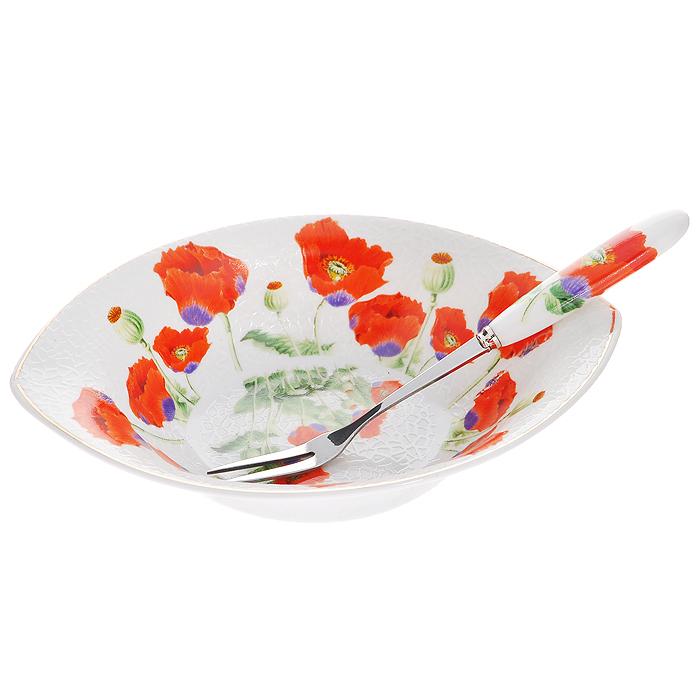 Блюдо Цветы мака с вилочкой, 11 х 16,5 см115510Оригинальное блюдо Цветы мака, изготовленное из высококачественного фарфора, прекрасно подойдет для красивой сервировки стола. Вилочка изготовлена из металла с глянцевой полировкой и фарфоровой ручкой. Изящный дизайн придется по вкусу и ценителям классики, и тем, кто предпочитает утонченность и изысканность. Характеристики:Материал:фарфор, металл. Размер блюда: 11 см х 16,5 см х 3,5 см. Длина вилочки:15 см. Размер упаковки: 16,5 см х 11,5 см х 4,5 см. Артикул: 545-374.
