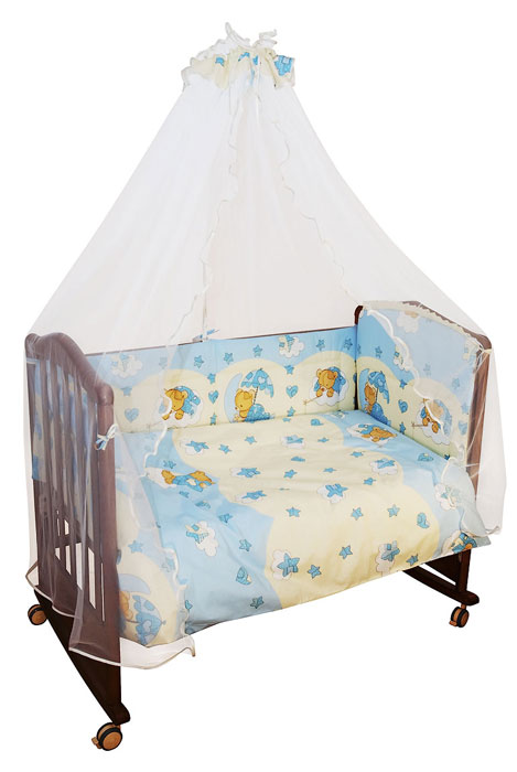 Комплект в кроватку Мишкин сон, цвет: голубой, 7 предметов53/017-PDКомплект в кроватку Мишкин сон прекрасно подойдет для кроватки вашего малыша, добавит комнате уюта и согреет в прохладные дни. В качестве материала верха использован натуральный хлопок, мягкая ткань не раздражает чувствительную и нежную кожу ребенка и хорошо вентилируется. Бампер, подушка и одеяло наполнены холлконом - экологически безопасным гипоаллергенным синтетическим материалом, обладающим высокими теплозащитными свойствами. Элементы комплекта оформлены изображениями симпатичных медвежат.Комплект состоит из: бампера с несъемными чехлами,балдахина с сеткой,подушки с клапаном,одеяла,пододеяльника,наволочки,простыни.Для производства изделий Сонный гномик используются только высококачественные ткани ведущих мировых производителей. Благодаря особым технологиям сбора и переработки хлопка сохраняется естественная природная структура волокна. Характеристики:Материал: бязь, 100% хлопок. Наполнитель бампера ,подушки и одеяла: холлкон. Материал балдахина: сетка. Размер одеяла: 140 см х 110 см. Размер бампера: 360 см х 38 см. Размер балдахина: 450 см х 170 см. Размер подушки: 60 см х 40 см. Размер пододеяльника: 144 см х 108 см. Размер наволочки: 60 см х 40 см. Размер простыни: 140 см х 100 см.
