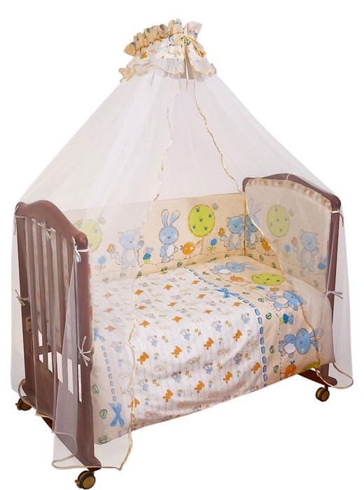 Комплект в кроватку Акварель, цвет: бежевый, голубой, 7 предметов53/010-PDКомплект в кроватку Акварель прекрасно подойдет для кроватки вашего малыша, добавит комнате уюта и согреет в прохладные дни. В качестве материала верха использован натуральный хлопок, мягкая ткань не раздражает чувствительную и нежную кожу ребенка и хорошо вентилируется. Наполнение одеяла и подушки из файберпласта - легкого синтетического абсолютно безопасного материала, благодаря которому они экологичны, гипоаллергенны, не деформируются и хорошо держат тепло. Бампер наполнен холлконом - экологически безопасным гипоаллергенным синтетическим материалом, обладающим высокими теплозащитными свойствами. Элементы комплекта оформлены крупным забавным рисунком с изображением котика, зайчика и птички.Комплект состоит из: бампера со съемными чехлами,балдахина с сеткой,подушки с клапаном,одеяла,пододеяльника,наволочки,простыни.Для производства изделий Сонный гномик используются только высококачественные ткани ведущих мировых производителей. Благодаря особым технологиям сбора и переработки хлопка сохраняется естественная природная структура волокна. Характеристики:Материал: бязь, 100% хлопок. Наполнитель бампера: холлкон. Материал сетки балдахина: 100% полиэстер. Наполнитель подушки и одеяла: файберпласт (100% полиэстер). Размер одеяла: 140 см х 110 см. Размер бампера: 360 см х 42 см. Размер балдахина: 450 см х 175 см. Размер подушки: 60 см х 40 см. Размер пододеяльника: 144 см х 108 см. Размер наволочки: 60 см х 40 см. Размер простыни: 140 см х 100 см.