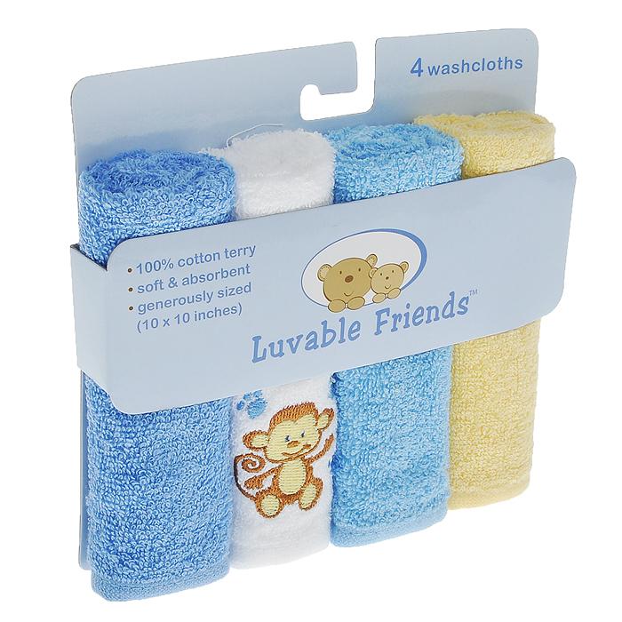 """Салфетки для купания Luvable Friends """"Обезьянка"""" прекрасно подойдут для бережного очищения нежной кожи малыша во время купания. Салфетки выполнены из махры премиум класса и прекрасно впитывают влагу. В комплект входят четыре салфетки голубого, желтого и белого цветов. Белая салфетка оформлена вышивкой в виде обезьянки."""