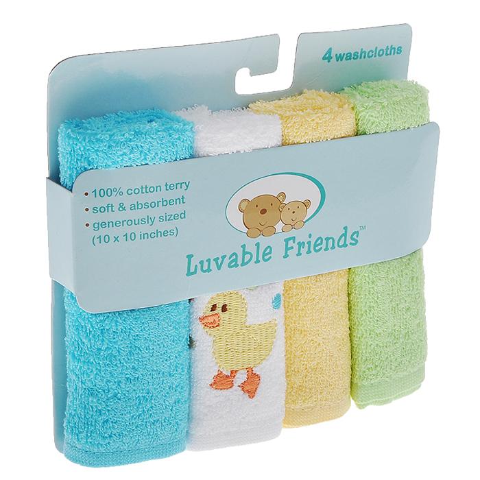 """Салфетки для купания Luvable Friends """"Утя"""" прекрасно подойдут для бережного очищения нежной кожи малыша во время купания. Салфетки выполнены из махры премиум класса и прекрасно впитывают влагу. В комплект входят четыре салфетки голубого, желтого, светло-зеленого и белого цветов. Белая салфетка оформлена вышивкой в виде утенка."""