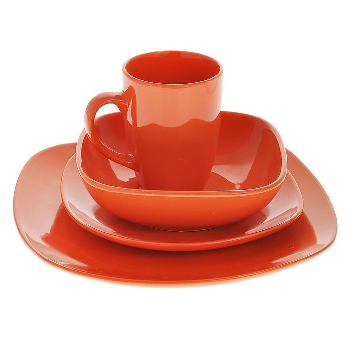 Набор столовый Besko, цвет: оранжевый, 4 предметаVT-1520(SR)Столовый набор Besko состоит из мелкой тарелки, десертной тарелки, миски и кружки. Предметы наборы выполнены из высококачественной керамики оранжевого цвета. Стильный дизайн и оригинальное исполнение понравится любой хозяйке и украсит ваш обеденный стол. Характеристики:Материал: керамика. Цвет: оранжевый. Размер миски: 14 см. Размер десертной тарелки: 19,5 см х 19,5 см х 2 см. Размер мелкой тарелки: 26 см х 26 см х 2,5 см. Диаметр кружки по верхнему краю: 8 см. Высота кружки: 10,5 см. Размеры упаковки: 26 см х 26 см х 10 см. Артикул: 555-041.