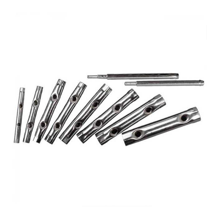 Набор трубчатых ключей КонтрФорс, 10 шт. 1365552706 (ПО)Набор трубчатых ключей КонтрФорс состоит из восьми ключей и двух стержней. Трубчатые ключи используются при работе с шестигранным крепежом. Благодаря продолговатой форме ключа, удобно работать инструментом в труднодоступных местах. Характеристики: Материал: сталь. Размер ключей: 6 x 7, 8 x 9, 10 x 11, 12 x 13, 14 x 15, 16 x 17, 18 x 19, 20 x 22 мм. Длина воротков: 17 см; 15 см. Размер упаковки: 21,5 см х 18,5 см х 3 см.