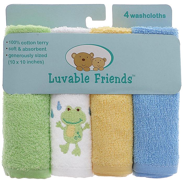 """Салфетки для купания Luvable Friends """"Лягушка"""" прекрасно подойдут для бережного очищения нежной кожи малыша во время купания. Салфетки выполнены из махры премиум класса и прекрасно впитывают влагу. В комплект входят четыре салфетки голубого, желтого, светло-зеленого и белого цветов. Белая салфетка оформлена вышивкой в виде лягушонка."""