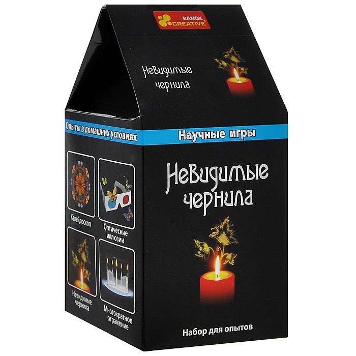"""Набор для исследований """"Невидимые чернила"""" поможет самостоятельно провести эксперимент с невидимыми чернилами и проявлением тайного послания. Набор включает в себя все необходимые элементы: 10%-ый раствор сульфатной кислоты, деревянную палочку, две свечки и инструкцию на русском языке."""