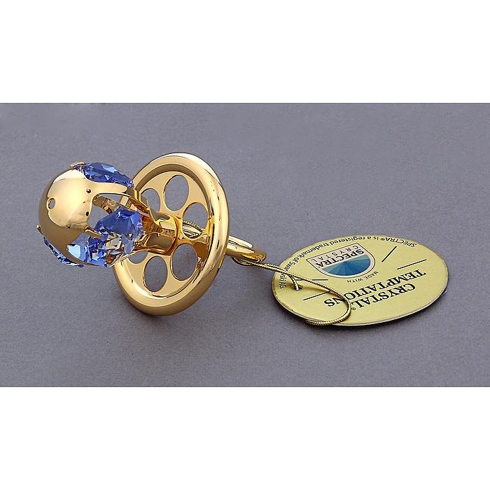 Фигурка декоративная Соска, цвет: золотистый. 445458Брелок для ключейДекоративная фигурка Соска выполнена из металла золотистого цвета и украшена голубыми кристаллами Swarovski. Поставьте фигурку на стол в офисе или дома и наслаждайтесь изящными формами и блеском кристаллов.Изысканный и эффектный, этот сувенир покорит своей красотой и изумительным качеством исполнения, а также станет замечательным подарком. Характеристики:Материал: металл, кристаллы Swarovski. Размер фигурки: 3,5 см х 3,5 см х 6 см. Цвет: золотистый. Размер упаковки: 5 см х 4 см х 8 см. Артикул: 445458.
