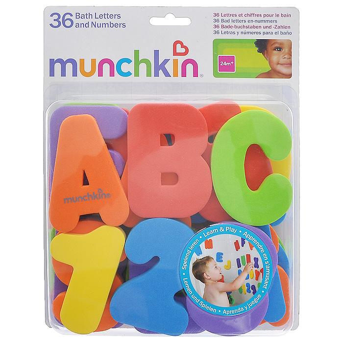 """Игрушка для ванны Munchkin """"Буквы и цифры"""" не позволит вашему ребенку скучать и превратит купание в веселую игру. В комплект входят 26 букв латинского алфавита и 10 цифр шести цветов. Когда буквы и цифры влажные, они легко прилипают к стене ванной комнаты. Малыш сможет в игровой форме познакомиться с буквами и цифрами и запомнить их, составлять из них слова и различные сочетания цифр. Кредо Munchkin, американской компании с 20-летней историей: избавить мир от надоевших и прозаических товаров, искать умные инновационные решения, которые превращает обыденные задачи в опыт, приносящий удовольствие. Понимая, что наибольшее значение в быту имеют именно мелочи, компания создает уникальные товары, которые помогают поддерживать порядок, организовывать пространство, облегчают уход за детьми - недаром компания имеет уже более 140 патентов и изобретений, используемых в создании ее неповторимой и оригинальной продукции. Munchkin делает жизнь родителей легче!"""