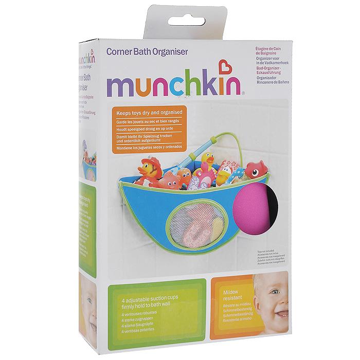 """Органайзер для игрушек """"Munchkin"""" станет идеальным решением для вашей ванной! Органайзер выполнен в виде кармана из стойкого материала - неопрена, устойчивого к плесени, и снабжен сеточкой, через которую вода свободно выливается, что позволяет сохранить игрушки в чистоте и в сухости. Органайзер крепится в угол стены ванной комнаты с помощью четырех присосок, положение которых регулируется слева направо для удобства использования. Кредо Munchkin, американской компании с 20-летней историей: избавить мир от надоевших и прозаических товаров, искать умные инновационные решения, которые превращает обыденные задачи в опыт, приносящий удовольствие. Понимая, что наибольшее значение в быту имеют именно мелочи, компания создает уникальные товары, которые помогают поддерживать порядок, организовывать пространство, облегчают уход за детьми - недаром компания имеет уже более 140 патентов и изобретений, используемых в создании ее неповторимой и оригинальной продукции. Munchkin делает жизнь..."""