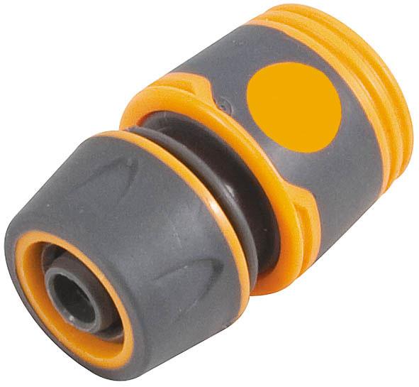 Соединитель для шлангов FIT, 3/42.645-008.0Соединитель FIT применяется для быстрого и надежного соединения поливочных шлангов 3/4 с любой насадкой поливочной системы.Совместим со всеми элементами аналогичной поливочной системы. Характеристики: Материал: ABS пластик с прорезиненными вставками. Размеры прибора: 6 см х 5 см х 5 см. Размер упаковки:12 см х 9 см х 4 см.