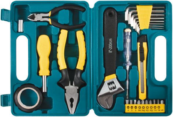 Набор инструментов FIT, 26 предметов98293777Набор слесарно-монтажных инструментов FIT - это необходимый предмет в каждом доме. Он включает в себя 26 предметов, которые умещаются в небольшом кейсе. Инструменты, входящие в набор гарантируют надежность и длительный срок службы.Такой набор будет идеальным подарком мужчине.В наборе:Пассатижи (16,5 см)Ключ разводной (20 см)Отвертка индикаторнаяБокорезы мини (11,5 см)Переходник с воротка 1/4 на битуПереходник с биты на головку 1/4Отвертка с магнитным фиксатором бит;Ключи HEX: 1,5 мм, 2 мм, 2,5 мм, 3 мм, 4 мм, 5 мм, 5,5 мм, 6 ммБиты шлицевые: SL4, SL5, SL6Биты крестовые: PH1, PH2, PZ1, PZ2Биты шестигранные: T15, T20Лента изоляционнаяНож техническийПластиковый чемодан.
