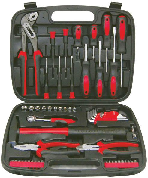 Набор инструментов FIT, 1/4, 57 предметов2706 (ПО)Набор слесарно-монтажных инструментов FIT - это необходимый предмет в каждом доме. Он включает в себя 57 предметов, которые умещаются в небольшом кейсе. Инструменты, входящие в набор гарантируют надежность и длительный срок службы.Такой набор будет идеальным подарком мужчине.Состав набора:Головки 1/4: 4 мм, 5 мм, 6 мм, 7 мм, 8 мм, 9 мм, 10 мм, 11 мм, 12 мм, 13 мм.Вороток 1/4 (13,5 см)Удлинитель для воротка 1/4 (5 см)Отвертки для точных работ: SL2, SL2,5, SL3, PH00, PH0Отвертки шлицевые: SL6 x 100 мм, SL6 x 38 мм, SL5 x 75 ммОтвертки крестовые: PH1 5 x 75 мм, PH2 6 x 100 мм, PH2 6 x 38 ммКлючи шестигранные HEX: 1,5 мм, 2 мм, 2,5 мм, 3 мм, 4 мм, 5 мм, 6 мм, 8 мм, 10 ммПассатижи (16 см)Бокорезы (16 см)Клещи переставные (25 см)Биты шлицевые: SL5, SL6Биты крестовые: PH0, PH1, PH2 (2 шт.), PH3, PZ1, PZ2, PZ3Биты шестигранные: HEX2, HEX3, HEX4, HEX5, HEX6, HEX7, T10, T15, T20Отвертка c магнитным фиксатором (16 см)Молоток (0,3 кг)Пластиковый чемодан. Характеристики: Материал: пластик, металл. Размеры упаковки: 35 см х 6 см х 28 см.