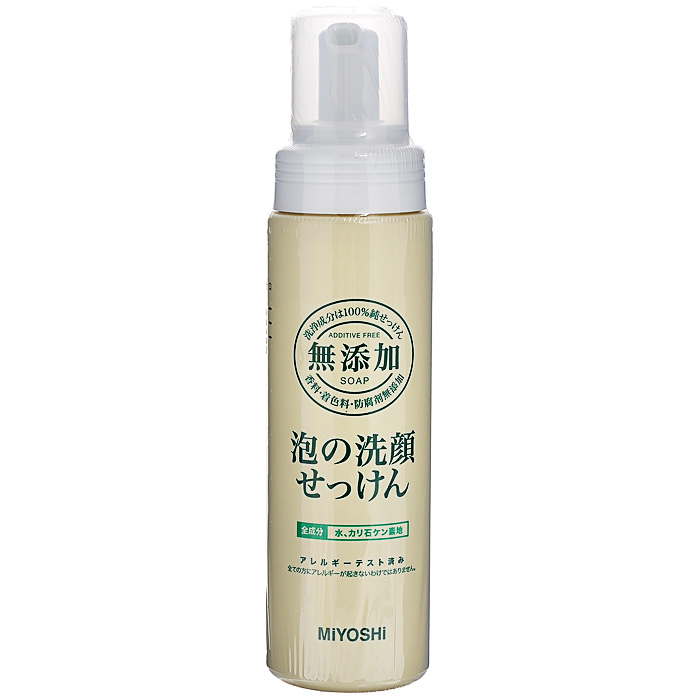 Miyoshi Пенящееся средство для умывания, на основе натуральных компонентов, 200 мл0861-11928Средство для умывания Miyoshi прекрасно удаляет излишки кожных выделений, не нарушая естественного защитного липидного барьера кожи. Образует нежную кремовую пену. Мягко воздействует на кожу благодаря моющим компонентам растительного происхождения. Не вызывает аллергических реакций. Особенно рекомендуется для ухода за чувствительной кожей, а также кожей, склонной к шелушению и раздражениям.Не содержит отдушек, стабилизаторов, консервантов. Характеристики:Объем: 200 мл. Артикул: 120019. Производитель: Япония. Товар сертифицирован.