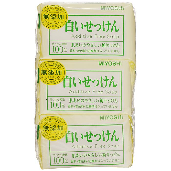 Miyoshi Туалетное мыло, на основе натуральных компонентов, 3х108 г1539Туалетное мыло с натуральными маслами и жирами изготовлено по традиционному способу мыловарения (после 4 дней с начала процесса омыления жира масса затвердевает, режется на куски, после чего мыло готово к использованию). При использовании образуется обильная пена, которая легко снимает загрязнения, не стягивая кожу. Рекомендуется для людей с чувствительной кожей. Не содержит ароматизаторов, красителей, консервантов. Характеристики:Вес: 3 х 108 г. Артикул: 1539. Производитель: Япония. Товар сертифицирован.