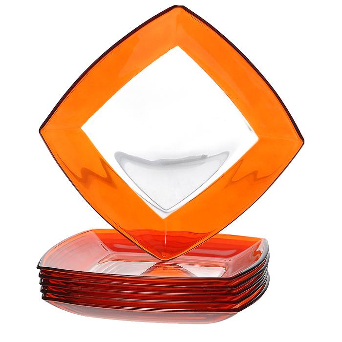 Набор тарелок Tokio, цвет: оранжевый, 19,5 см х 19,5 см, 6 шт54 009312Набор Tokio состоит из шести тарелок, выполненных из закаленного стекла, благодаря чему посуда будет использоваться очень долго, при этом сохраняя свой внешний вид. Квадратные тарелки декорированы по краю оранжевой окантовкой. Они сочетают в себе изысканный дизайн с максимальной функциональностью. Оригинальность оформления тарелок придется по вкусу и ценителям классики, и тем, кто предпочитает утонченность и изящность. Набор тарелок Tokio послужит отличным подарком к любому празднику. Характеристики:Материал: стекло. Цвет: оранжевый. Размер тарелки:19,5 см х 19,5 см. Высота стенок тарелки:2 см. Комплектация:6 шт. Размер упаковки:20 см х 20 см х 8 см. Артикул:54077OR.