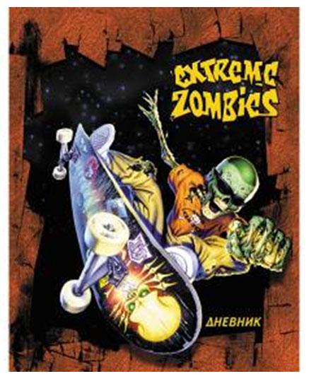 Дневник школьный Action! Extreme ZombiesAD-22Школьный дневник Action! Extreme Zombies в твердом переплете станет не только надежным помощником в освоении новых знаний, но и принесет радость своему хозяину, выделяя его среди одноклассников и украшая учебные будни.Обложка дневника изготовлена из плотного ламинированного картона и оформлена изображением зомби на скейтборде. Внутренний блок выполнен из качественной офсетной белой бумаги с четкой линовкой черного цвета.На переднем форзаце дневника представлена карта областей России, на заднем - таблица Менделеева. Характеристики:Материал:бумага, картон. Размер дневника: 16,5 см х 21 см х 0,8 см. Изготовитель: Россия.