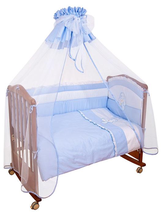 """Бампер в кроватку """"Пушистик"""" состоит из четырех частей и закрывает весь периметр кроватки. Бортик крепится к кроватке с помощью специальных завязок, благодаря чему его можно поместить в любую детскую кроватку. Бампер выполнен из сатина - натурального хлопка безупречной выделки. Деликатные швы рассчитаны на прикосновение к нежной коже ребенка. Бампер оформлен оборками и вышитой аппликацией в виде белого зайчика. Наполнителем служит холлкон - эластичный синтетический материал, экологически безопасный и гипоаллергенный, обладающий высокими теплозащитными свойствами. Бампер защитит ребенка от возможных ударов о деревянные или металлические части кроватки. Бортик подходит для кроватки размером 120 см х 60 см."""