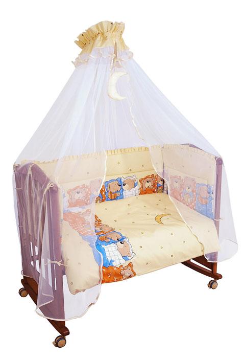 """Бампер в кроватку """"Лежебоки"""" состоит из четырех частей и закрывает весь периметр кроватки. Бортик крепится к кроватке с помощью специальных завязок, благодаря чему его можно поместить в любую детскую кроватку. Бампер выполнен из бязи (наиболее тонкой нити) - натурального хлопка безупречной выделки. Деликатные швы рассчитаны на прикосновение к нежной коже ребенка. Бампер оформлен оборками и изображениями симпатичных медвежат и собачек в постельках. Наполнителем служит холлкон - эластичный синтетический материал, экологически безопасный и гипоаллергенный, обладающий высокими теплозащитными свойствами. Бампер защитит ребенка от возможных ударов о деревянные или металлические части кроватки. Бортик подходит для кроватки размером 120 см х 60 см."""
