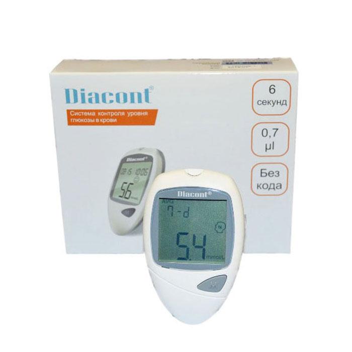 Система контроля уровня глюкозы в крови Diacont2598Система контроля уровня глюкозы в крови Diacont. Высокоточный глюкометр с большим экраном, функцией предупреждения о гипогликемии и гипергликемии, портом передачи данных на ПК и системой измерения без кодирования тест-полосок. Измерение происходит всего за 6 секунд, при этом для анализа требуется только 0,7 мкл крови. Глюкометр Diacont хранит в памяти 250 измерений, рассчитывает среднее значение за 7, 14, 21 и 28 дней, включается и выключается автоматически. Поставляется в комплекте с тест-полосками, ланцетами, устройством для получения капли крови, автоматическим скарификатором с приспособлением для взятия крови из альтернативных мест, контрольным раствором и футляром для хранения.Комплектация: глюкометр, 10-тест-полосок Diacont, 10 стерильных ланцетов, устройство для получения капли крови, автоматический скарификатор с приспособлением для взятия крови из альтернативных мест (ладонь, голень, предплечье, бедро), контрольный раствор, футляр, батарейка CR2032. Характеристики:Материал: пластик, металл, текстиль. Размер измерителя: 9,9 см х 6,2 см х 2 см.Размер упаковки: 16 см х 14 см х 5 см.