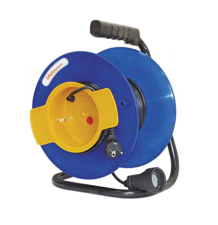 Удлинитель на катушке UNIVersal, без заземления, цвет: синий, желтый, 40 м1153390120Удлинитель на катушке UNIVersal предназначен для подключения одного электроприбора. Будет полезен в гараже, на приусадебном участке, при проведении строительных, ремонтных и монтажных работ. Идеален для подключения газонокосилок, у которых предусмотрен короткий сетевой провод и фиксатор для соединения кабелей инструмента и удлинителя. Длина кабеля 40 метров позволит проводить необходимые работы на значительном расстоянии от источника питания. Рассчитан на напряжение 220В. Быстро сматывается/разматывается, экономя время оператора, удобен в хранении. Провод с поливинилхлоридной изоляцией обеспечивает надежность и безопасность работы.Характеристики:Длина провода: 40 м.Количество розеток: 1.Максимальная мощность: 1300 Вт.Максимальный ток: 6 A.Провод:ПВС 2 х 0,75 мм.