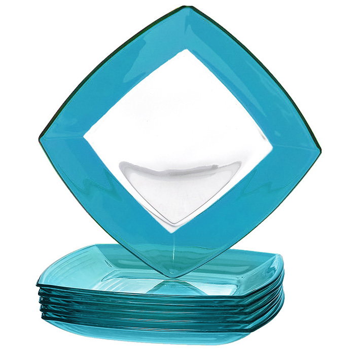 Набор тарелок Tokio, цвет: голубой, 6 шт115510Набор Tokio состоит из шести тарелок, выполненных из высококачественного прозрачного и голубого стекла. Тарелки сочетают в себе изысканный дизайн с максимальной функциональностью. Оригинальность оформления придется по вкусу и ценителям классики, и тем, кто предпочитает утонченность и изящность.Набор тарелок Tokio послужит отличным подарком к любому празднику. Характеристики:Материал: стекло. Размер тарелки (Д х Ш х В):19,5 см х 19,5 см х 2 см. Комплектация:6 шт. Размер упаковки (Д х Ш х В):20 см х 20 см х 8 см. Производитель:Турция. Артикул:54077BL.