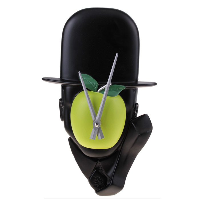 Часы настенные Человек с яблоком. 65251241491Оригинальные настенные часы Человек с яблоком - интерьерный арт-объект, выполненный вручную итальянскими мастерами из экологически чистого материала - мраморной крошки по мотивам картины бельгийского художника-сюрреалиста Рене Магритта Сын Человеческий. Часы оснащены немецким кварцевым механизмом.Человек в шляпе-котелке с закрытым зеленым яблоком лицом - необычное дизайнерское решение и стильное украшение интерьера. Этот аксессуар не только оформит интерьер, но и послужит функционально. Оформите совой дом таким интерьерным шедевром или преподнесите его в качестве презента друзьям, и они оценят ваш оригинальный вкус и неординарность подарка. Характеристики:Материал: мраморная крошка.Размер: 8 см x 19 см x 32 см.Артикул: 652512.